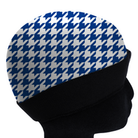 Blue HOUNDSTOOTH silky compression cap