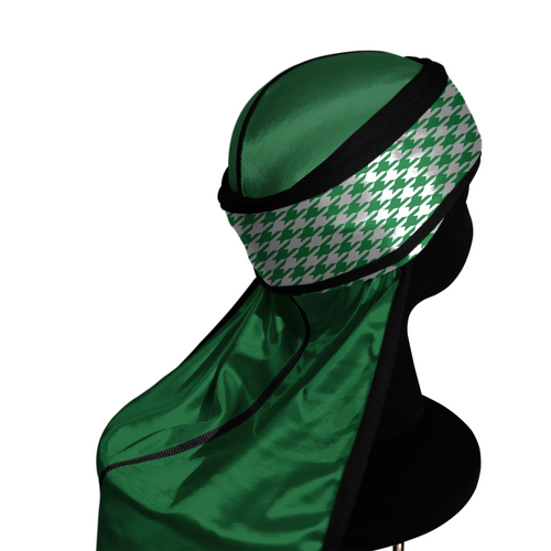 GREEN HOUNDSTOOTH silky compression durag.