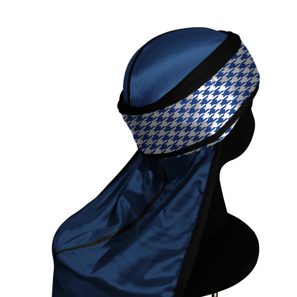 BLUE HOUNDSTOOTH silky compression durag.