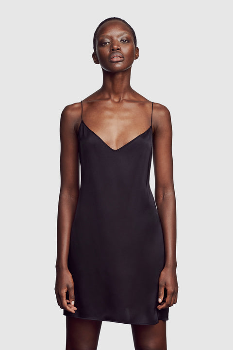 Satin Slip with Off Shoulder Strap Black - Kiki de Montparnasse