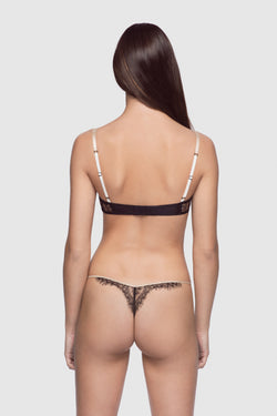 All Over Lace Thong Champagne/Black - Kiki de Montparnasse