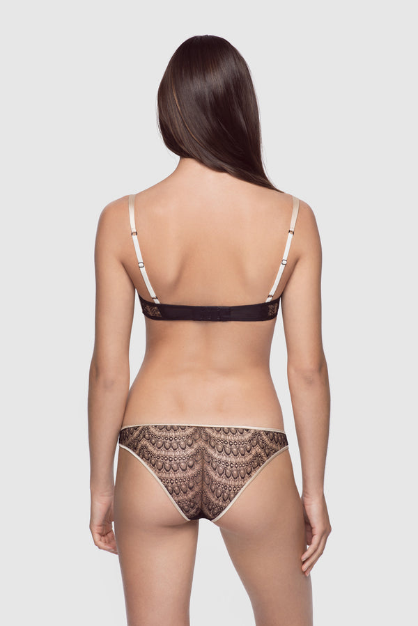 All Over Lace Brief Champagne/Black - Kiki de Montparnasse