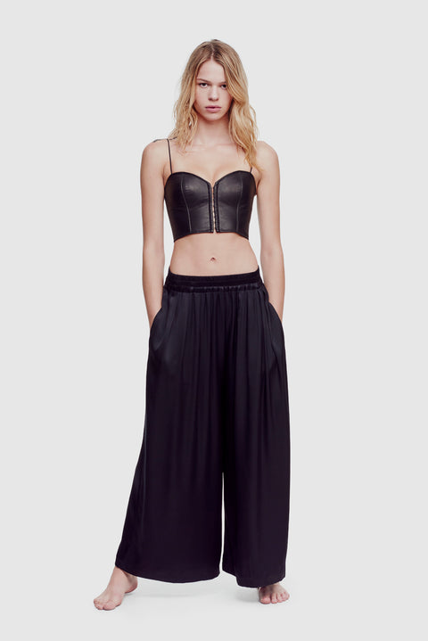 Satin Wide Leg Pant Black