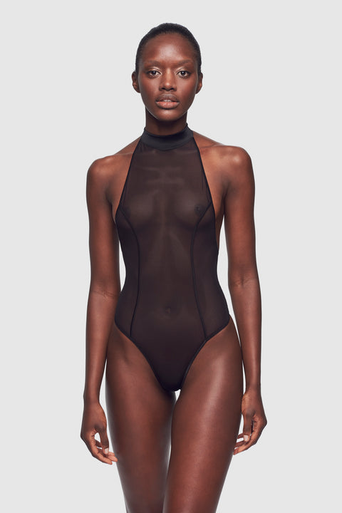 Voile High Neck Bodysuit Black