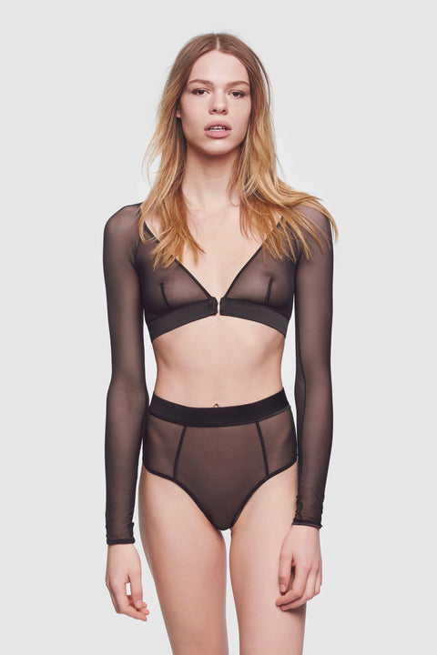 Voile Long Sleeve Bralette Black