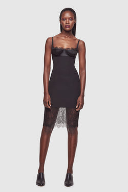 Lace and Silk Dress Black - Kiki de Montparnasse