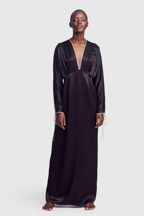 Silk V dress Black - Kiki de Montparnasse