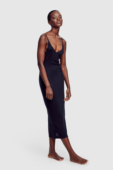 Intime Long Slip Dress Black