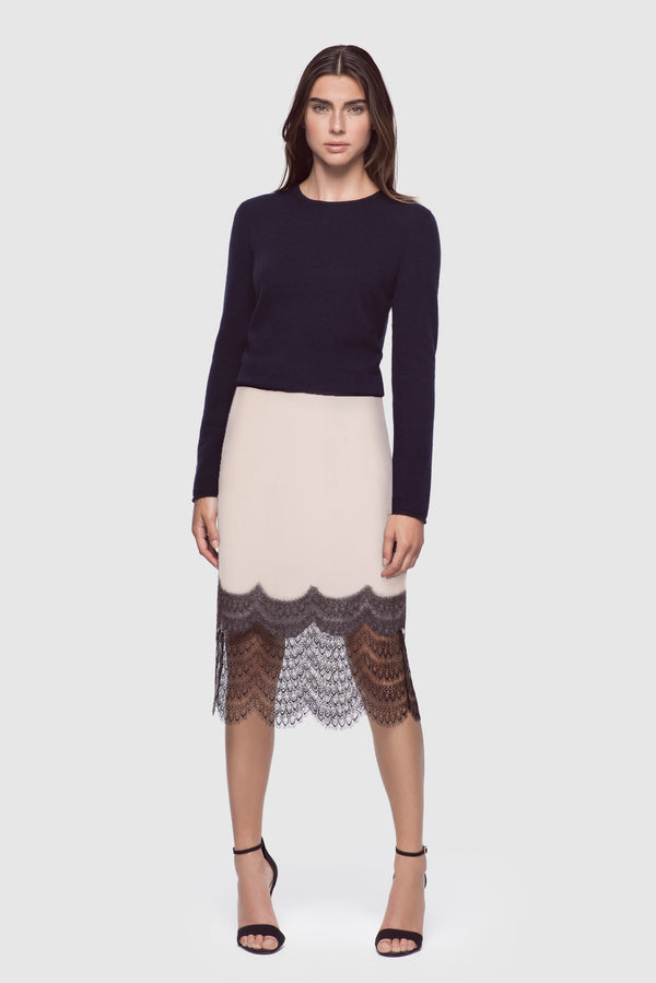 Charmeuse & Lace Skirt Blush/Black - Kiki de Montparnasse