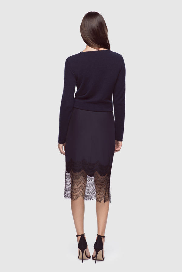 Charmeuse & Lace Skirt Navy/Black - Kiki de Montparnasse