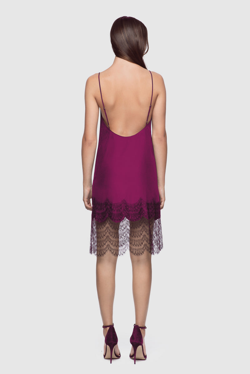 Lace Inset Slip Dress Orchid/Black - Kiki de Montparnasse