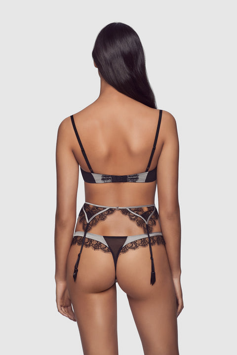 Lace Inset Thong Silver/Black - available for pre-order - Kiki de Montparnasse