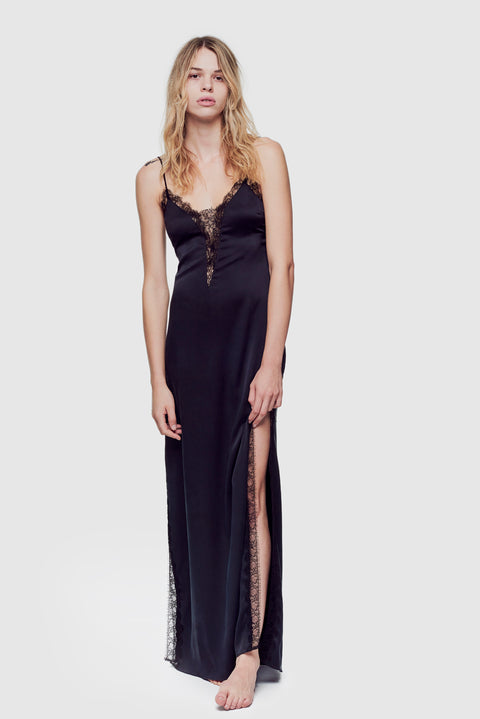 Lace Inset Gown Black