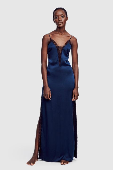 Lace Inset Gown Midnight/Black