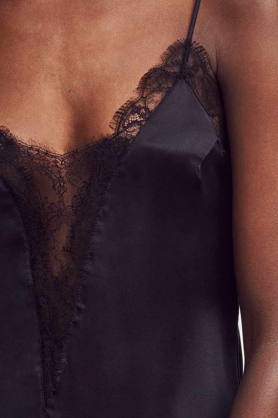 Lace Inset Nightie Black - Kiki de Montparnasse