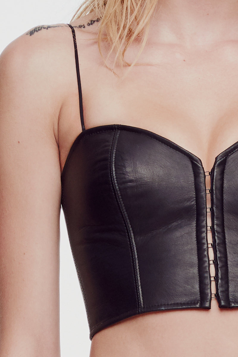 Leather and Lace Top Black - Kiki de Montparnasse