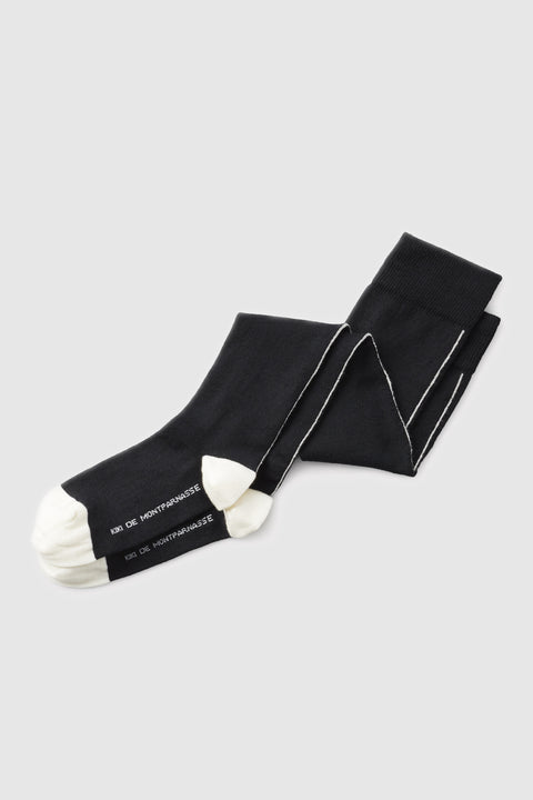 Luxe Seamed Socks Black/Ivory