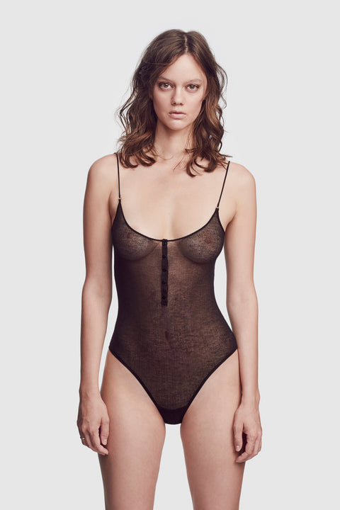 Ribbed Intime Bodysuit Black