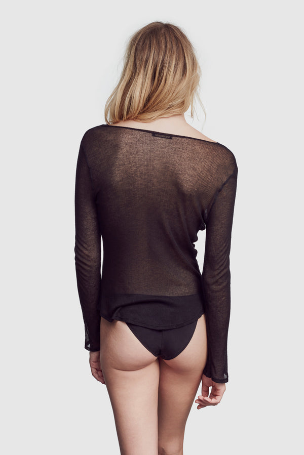 Ribbed Intime Long Sleeve Black - Kiki de Montparnasse