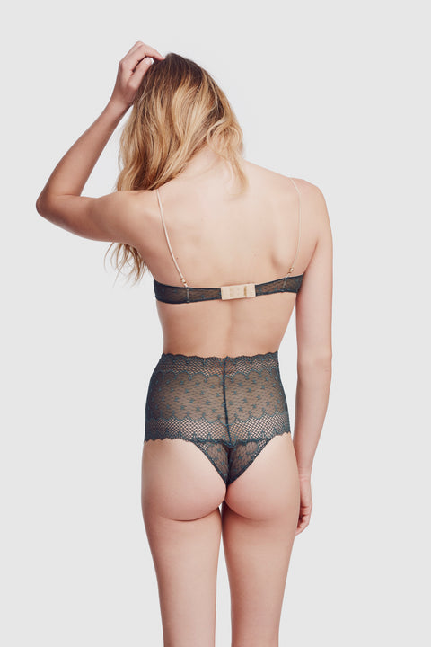 Fleur de Lys High Waisted Panty Forest Green