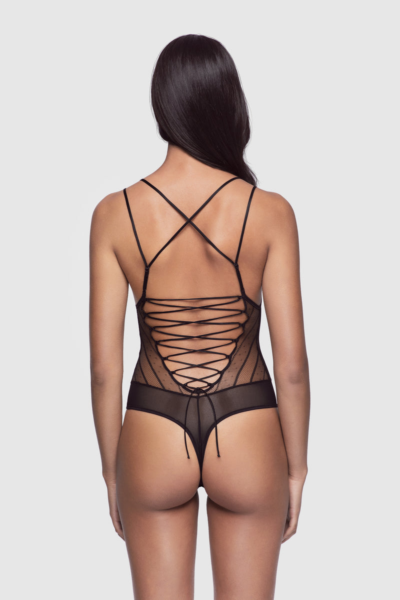 Stripe Lace-Up Bodysuit - Kiki de Montparnasse