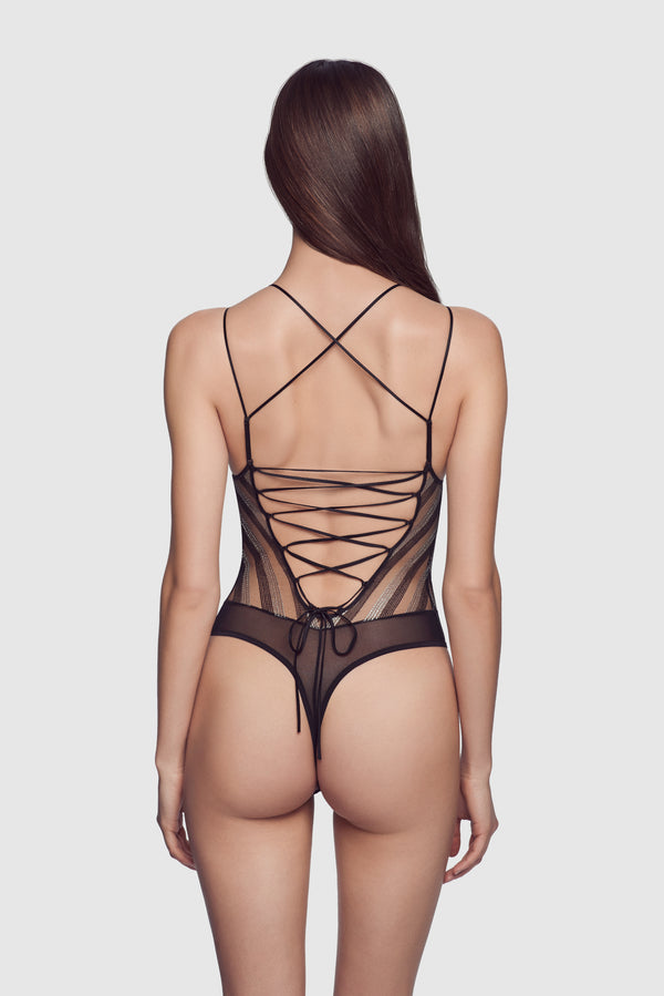 Lurex Stripe Lace-Up Bodysuit - Kiki de Montparnasse