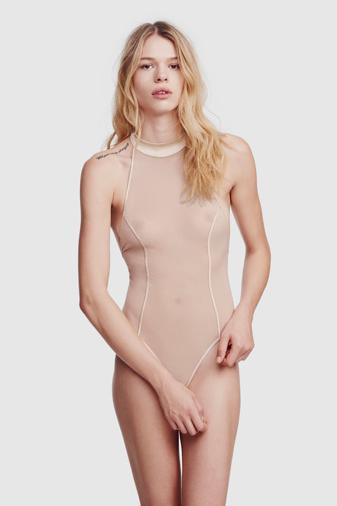 Voile High Neck Bodysuit Bone