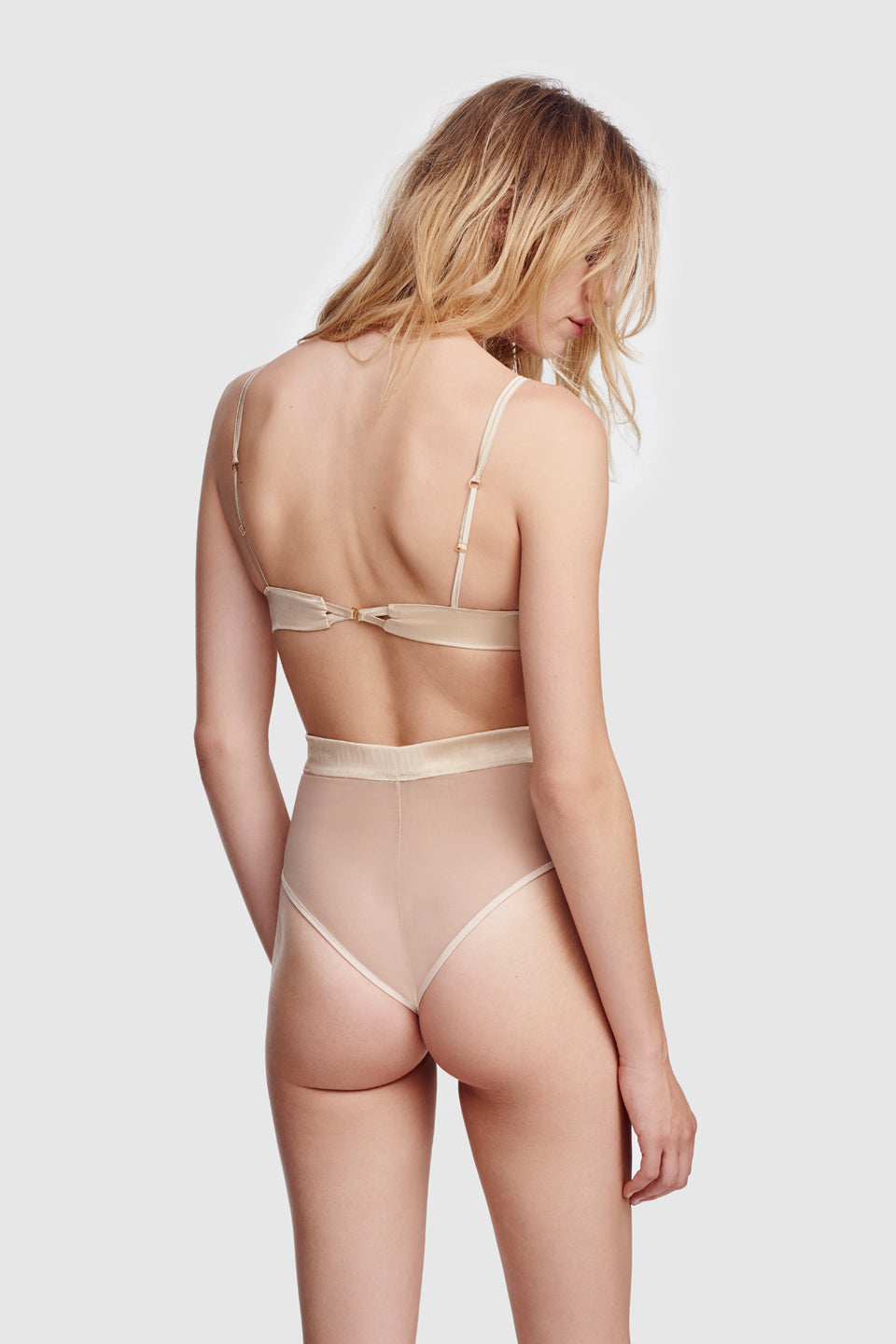 Voile High Waisted Panty Bone
