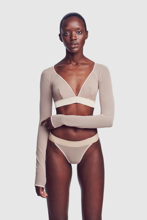 Voile Long Sleeve Bralette Bone