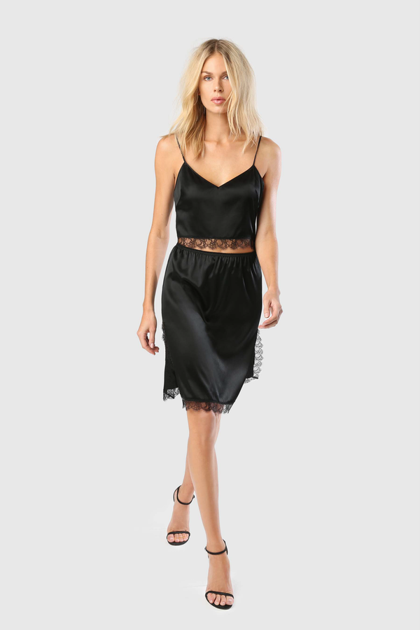 LACE INSET SLIP SKIRT - BLACK