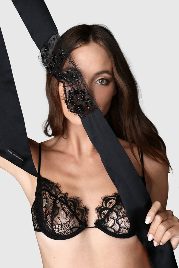 Lace Beaded Blindfold Black
