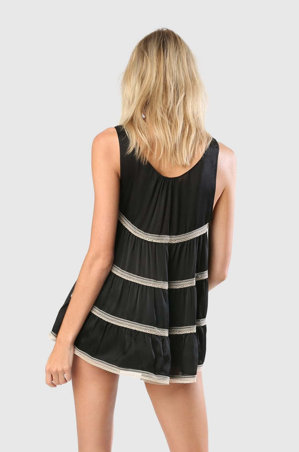 TIERED BABYDOLL - BLACK/SUCRE