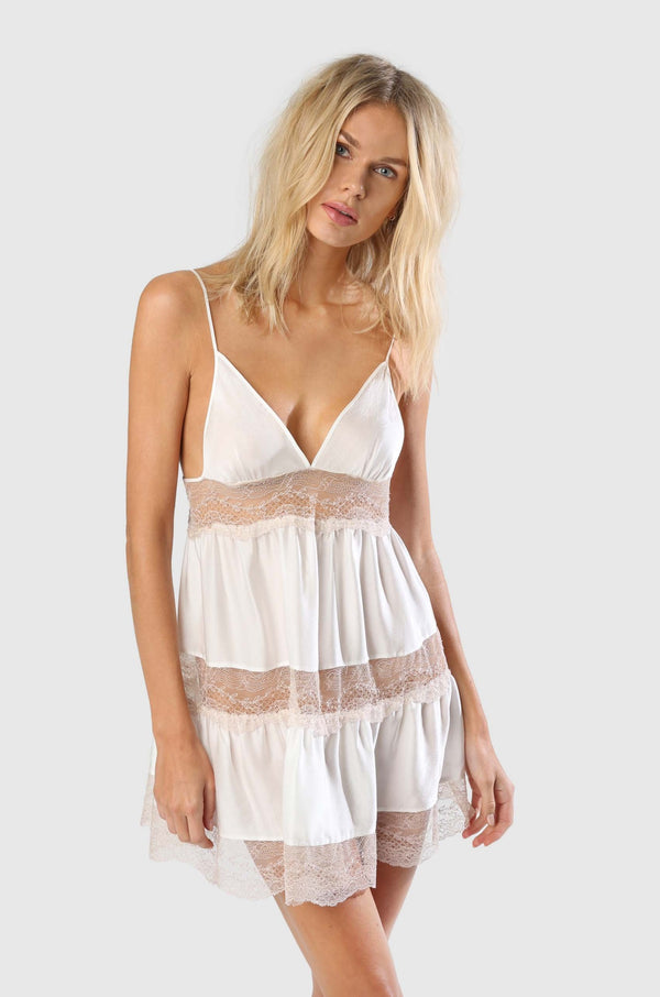 TIERED NIGHTIE - IVORY/SUCRE