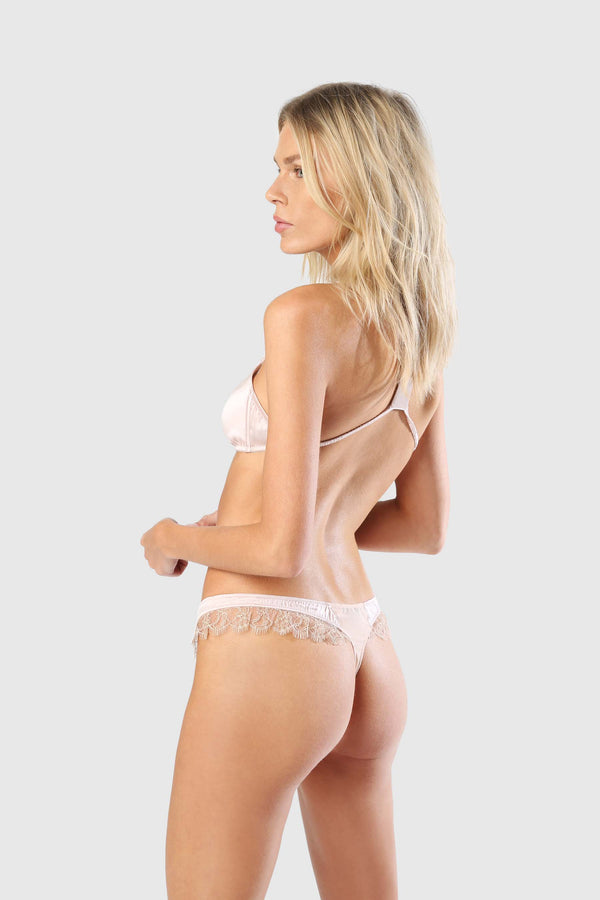LACE INSET THONG - BALLET/CHAMPAGNE