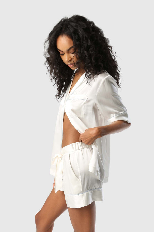 Silk PJ Short Ivory/Blue