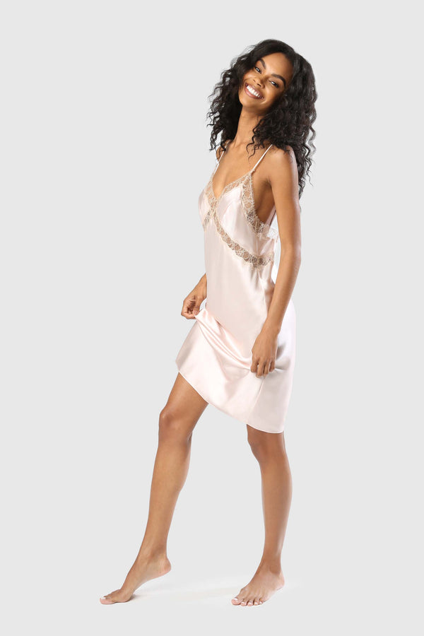 LACE INSET SLIP DRESS - BALLET/CHAMPAGNE