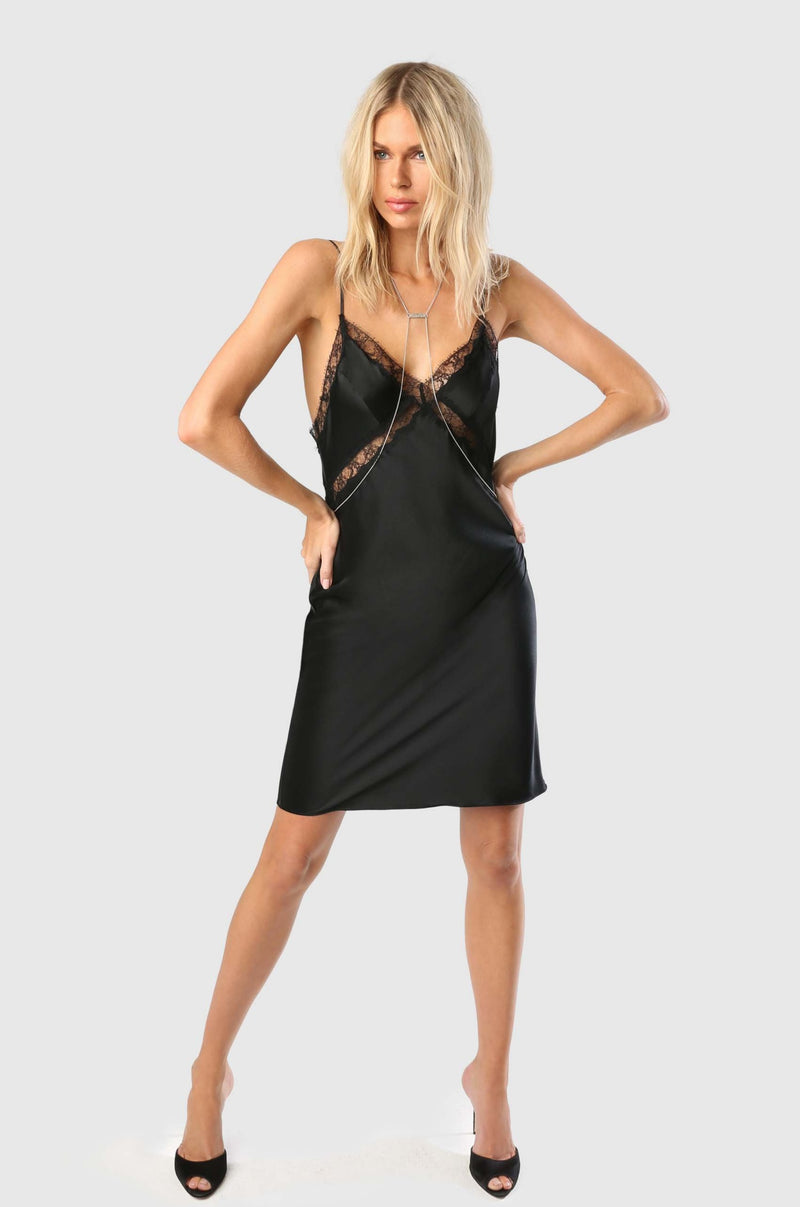 LACE INSET SLIP DRESS - BLACK