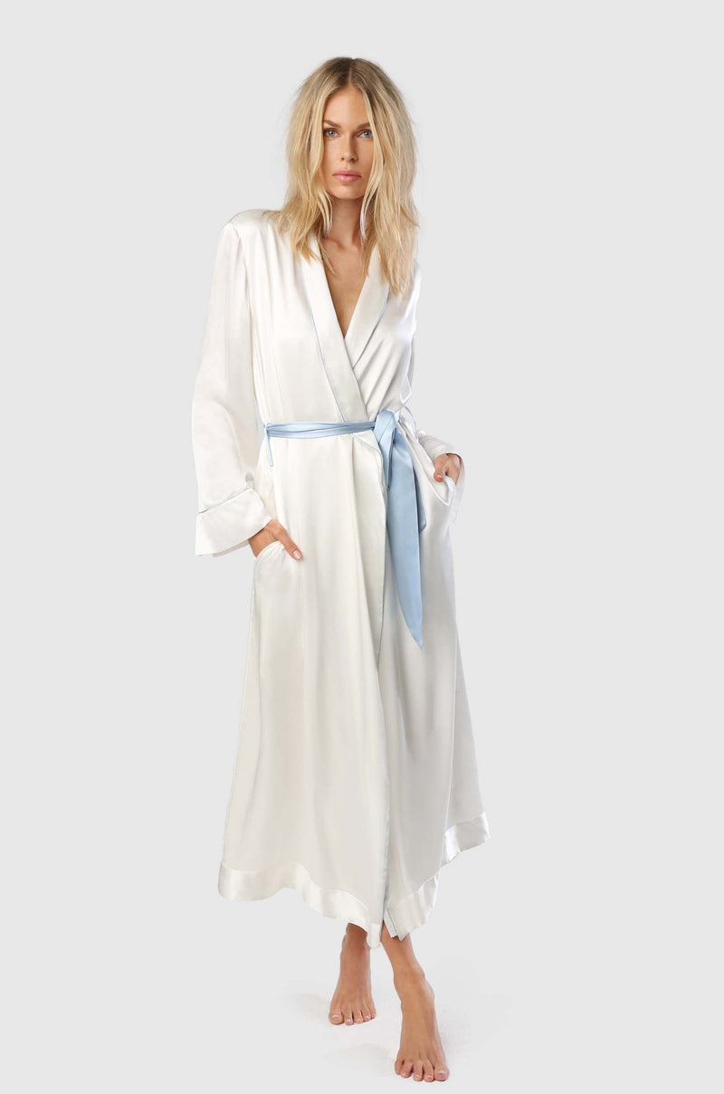 Amour Robe Ivory/Blue
