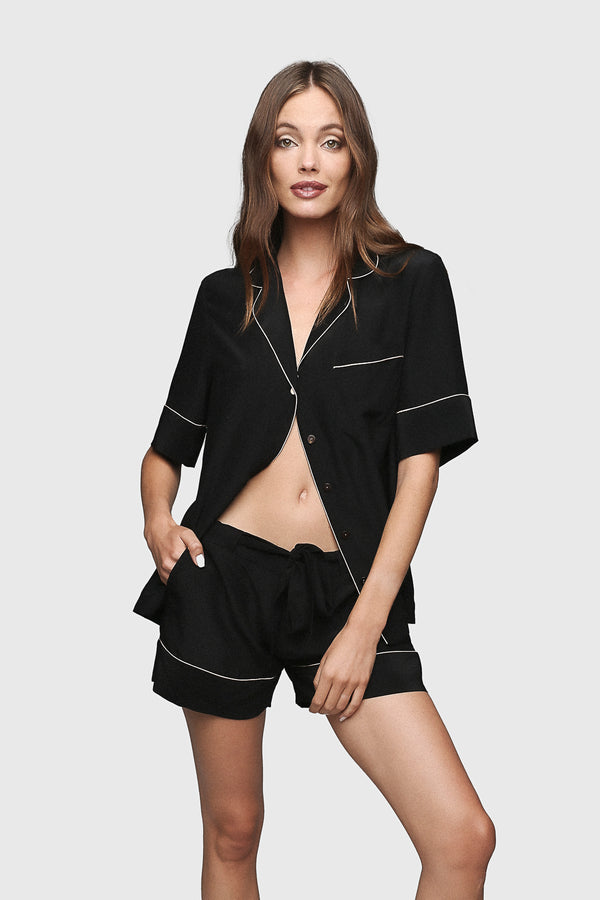 Silk PJ Shorts Black/Champagne