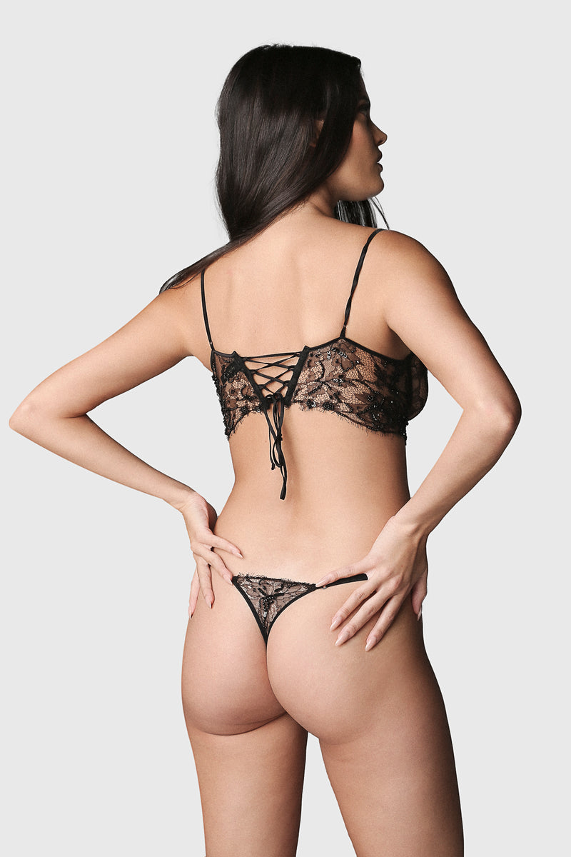 Beaded Lace Thong Black