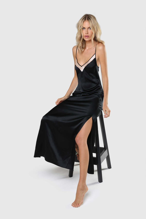 New Amour Bias Gown Black/Champagne