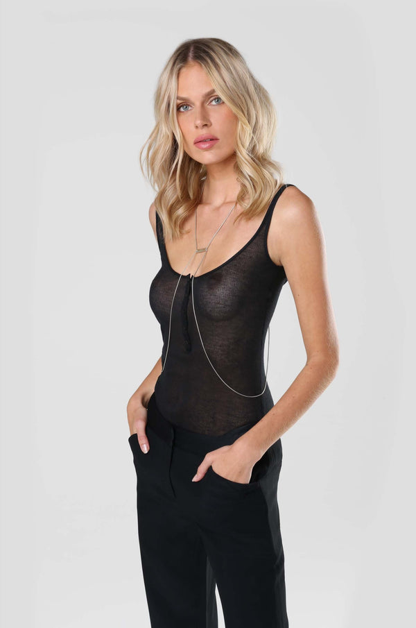 Ribbed Intime Kate Tank Black