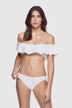 Ruffle Swim Thong White