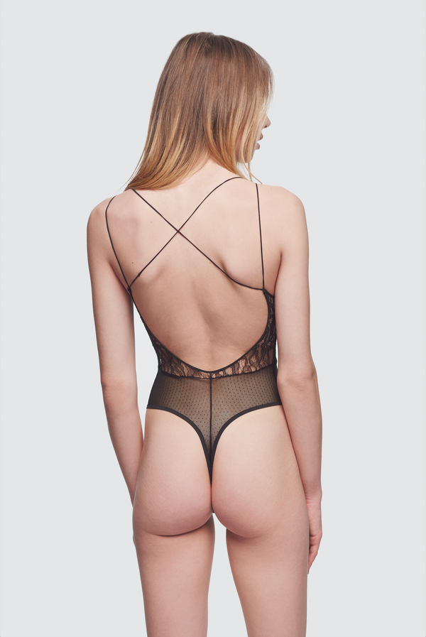 Lace and Silk Bodysuit Black - Kiki de Montparnasse