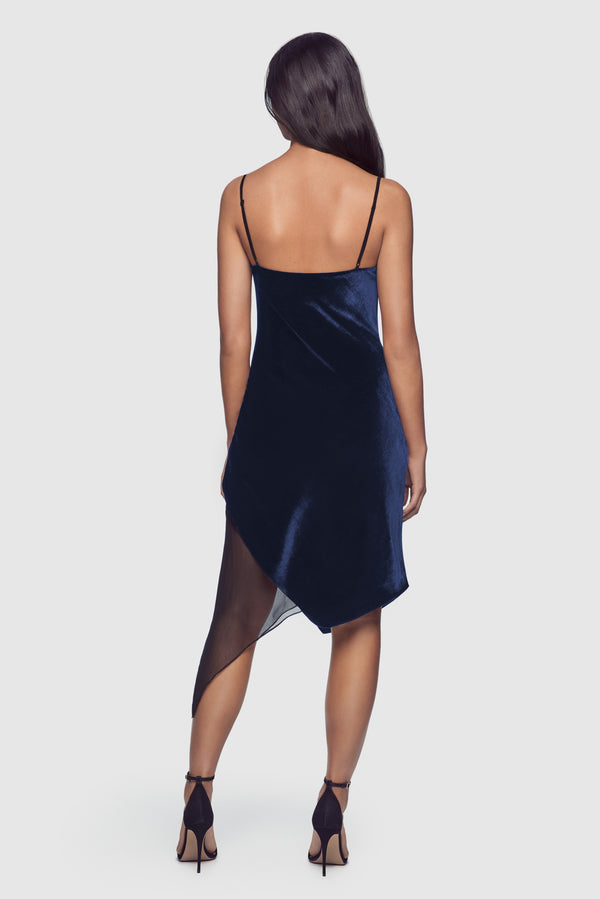 Velvet Bias Dress Blue/Black - Kiki de Montparnasse