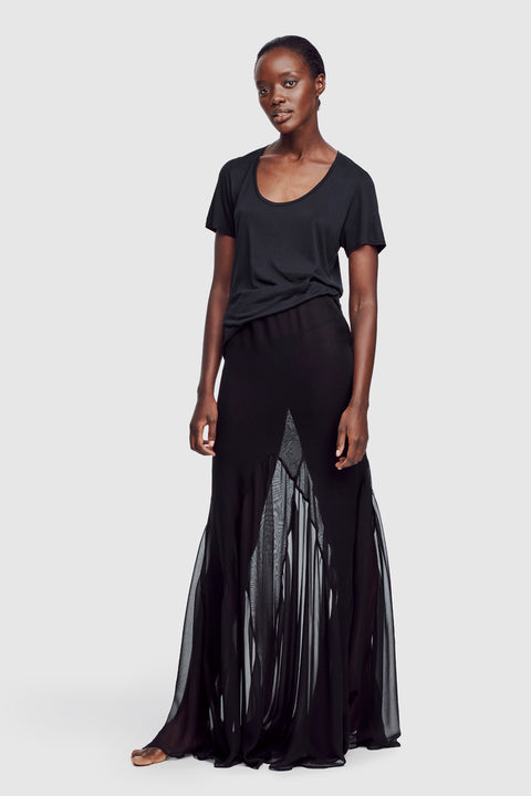 Long Sheer Seamed Skirt Black