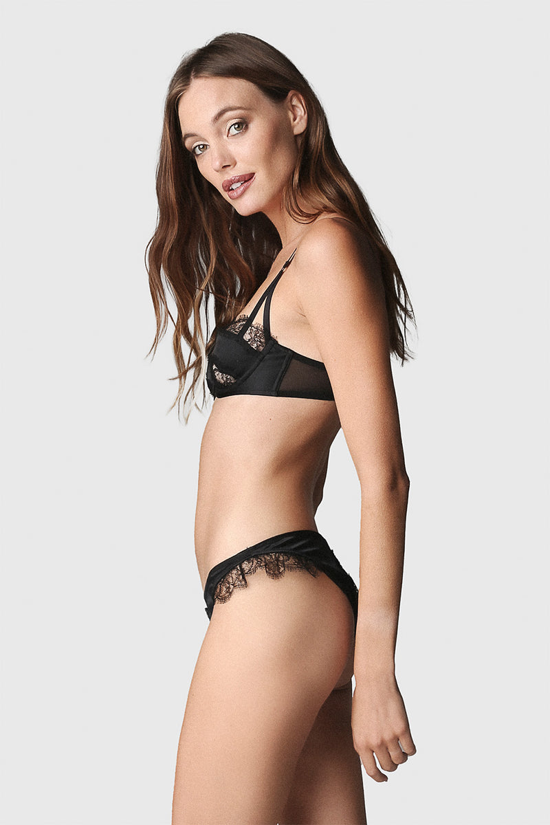 Lace Inset Brief Black