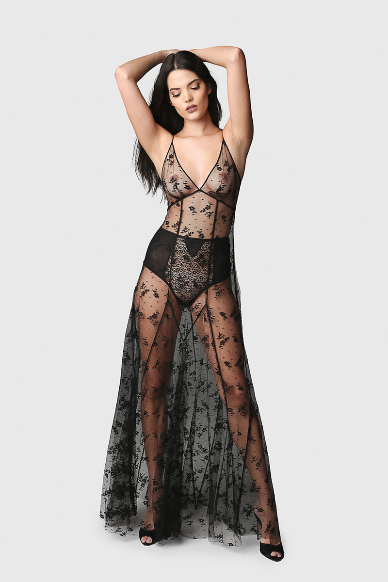 All Over Lace Seamed Gown Black
