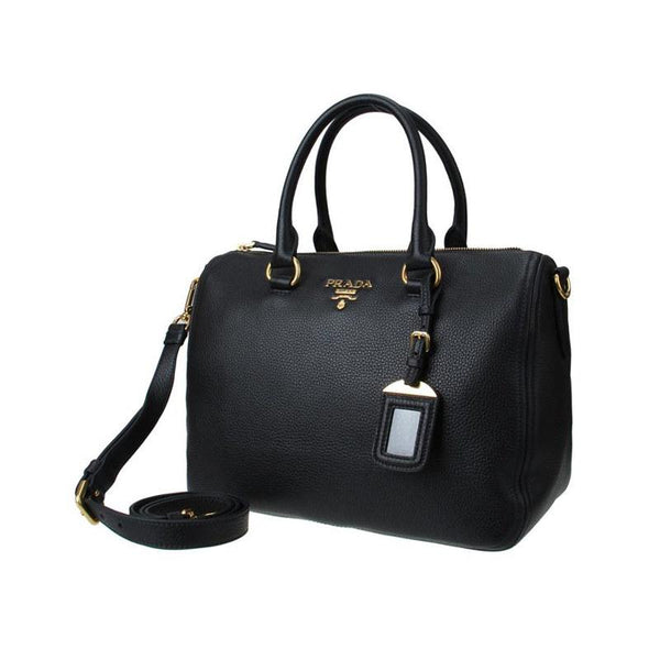 Prada Women's Black Vitello Phenix Boston - Retail Basis