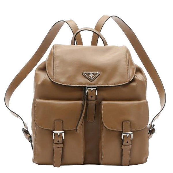 PRADA City Sport Caramel Beige Leather Zainetto Backpack - Retail Basis